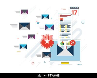 Computer with antivirus for protection, security and blocking of receiving spam by email. Spam blocker. Email protection and secure communication on i - Stock Photo