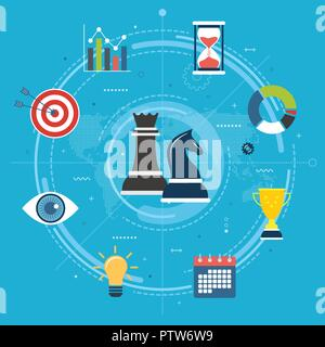 Business, marketing and finance strategy. Business strategy and corporate success, innovation vision concept. Chess pieces, chart, vision, gear and ta - Stock Photo