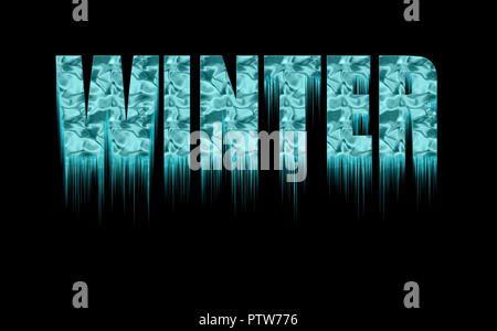 Concept cool winter. Decorative frozen text - winter - with icicles on the black background. - Stock Photo