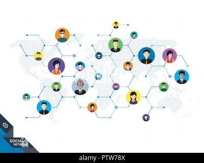 People connected by social media or social networks. Concept of communication, business, globalization. People icons, world map, hexagon design with l - Stock Photo