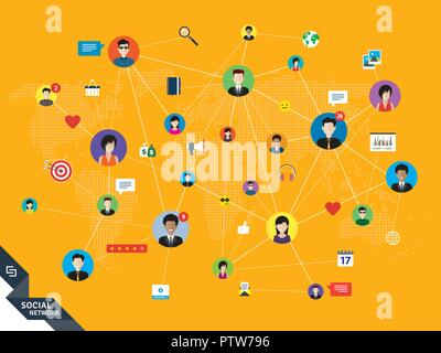 People connected by social media or social networks. Concept of communication, business, globalization. People icons, world map and design with lines  - Stock Photo