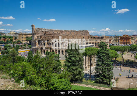 view of the Colosseum Amphitheatre seen from the Barberini vineyard on Palatine Hill, Rome, Italy - Stock Photo