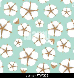 Cotton flower Seamless pattern. Flat style cute colorful background. Vector illustration. - Stock Photo