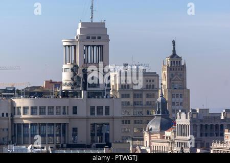MADRID, SPAIN - JANUARY 24, 2018:  Amazing Panorama of city of Madrid from Cybele Palace (Palacio de Cibeles), Spain - Stock Photo