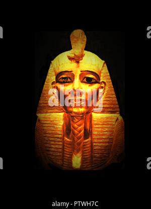 King Tutankhamun death mask in Egypt Museum, Cairo. - Stock Photo