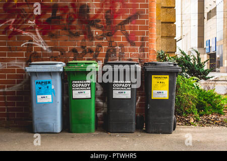 Wroclaw, Poland, September 10, 2017 : waste bins for sorting center city - Stock Photo