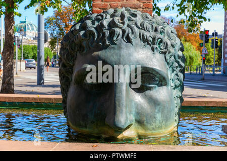 Strasbourg, France - September 09, 2018: bronze sculpture at an aqueduct in the city of Strasbourg. It was erected in celebration of the 2000 years an - Stock Photo