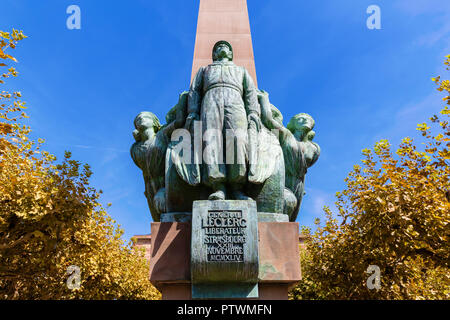 Strasbourg, France - September 09, 2018: Obelisk Leclerc in Strasbourg. It was created by the artist Sauphique 1951 as remembrance for General Leclerc - Stock Photo