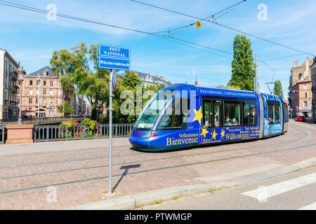 Strasbourg, France - September 09, 2018: tram in the city of Strasbourg with unidentified people. Strasbourg is the capital and largest city of the Gr - Stock Photo