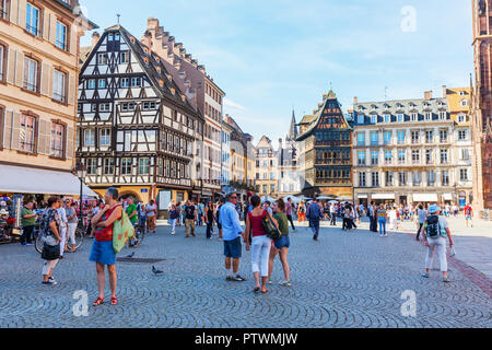Strasbourg, France - September 09, 2018: forecourt of the Strasbourg Cathedral with unidentified people. Strasbourg is the capital and largest city of - Stock Photo