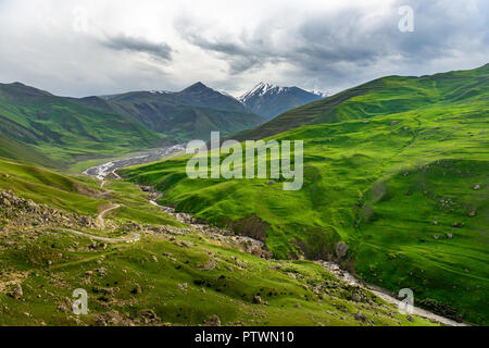 Azerbaijan landscape of nature, Beautiful mountains and hills in the north of Azerbaijan near Quba in the village Khinaluq - Stock Photo