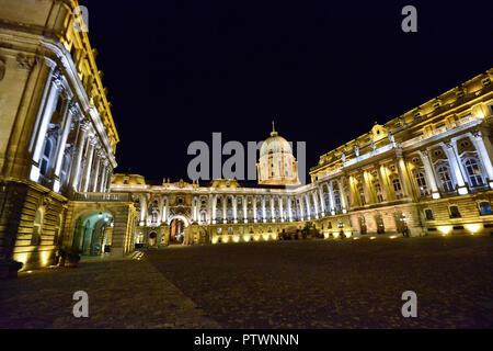 Buda Castle by night, Budapest, Hungary - Stock Photo