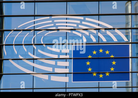 Logo of the European Parliament, Brussels, Belgium - Stock Photo