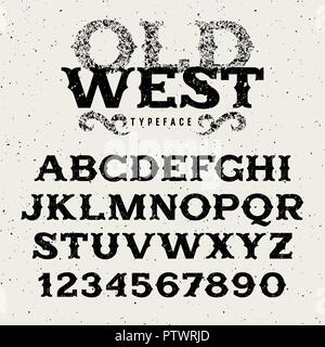 Vintage western alphabet / Retro font in wild west style / Old West typeface with grunge effect / Textured letters and numbers for labels and posters - Stock Photo