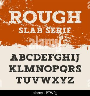 Grunge font. Retro alphabet in western style. Slab Serif uppercase letters. Textured rough vector font for labels and posters - Stock Photo