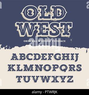 Old West typeface. Retro alphabet in western style. Slab Serif type letters on a grunge background. Vintage vector font for labels and posters - Stock Photo
