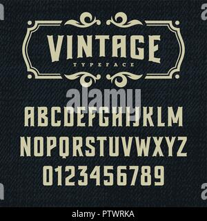 Wild West typeface / Retro alphabet in western style / Slab Serif type letters on a grunge background / Handmade Vintage Font for labels and posters - Stock Photo