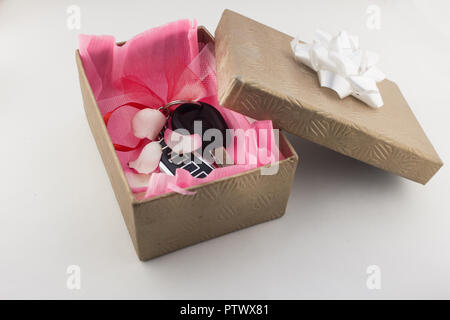 Car keys in gift box, gift, car keys on white background - Stock Photo