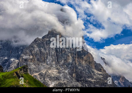 Italy Trentino - Dolomites Pale di San Martino - The Cimon della Pala wrapped in clouds, photographed by Passo Rolle - Stock Photo