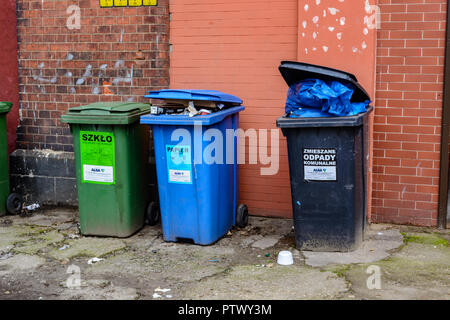 Wroclaw, Poland, September 10, 2017: waste bins for sorting city - Stock Photo