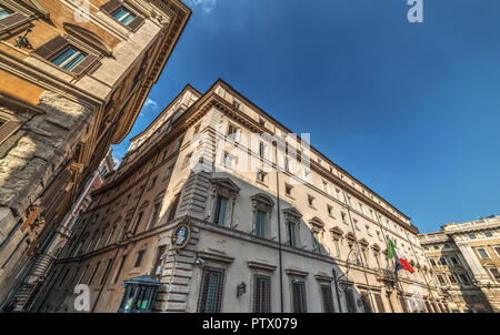 Italian Prime minister official residence. Palazzo Chigi in Rome, Italy - Stock Photo