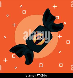 sweet happy halloween black wrapped candy witch hat vector illustration - Stock Photo