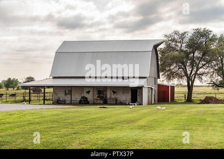 An Amish horse barn in the Amish town of Yoder, Kansas, USA. Free range chickens and fenced cattle. - Stock Photo