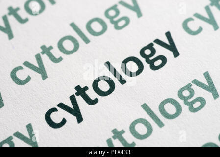 word cytology printed on white paper macro - Stock Photo