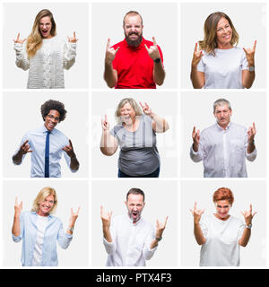 Collage of group of young, middle age and senior people over isolated background shouting with crazy expression doing rock symbol with hands up. Music - Stock Photo