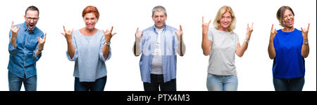 Collage of group of middle age and senior people over isolated background shouting with crazy expression doing rock symbol with hands up. Music star.  - Stock Photo
