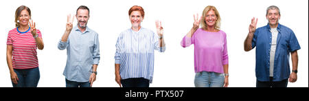 Collage of group of middle age and senior people over isolated background showing and pointing up with fingers number three while smiling confident an - Stock Photo