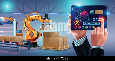 Automation of warehouse on smart factory, the robotic arm loading boxes on pallets. The application on the tablet manages the logistics of the plant. businessman holding a tablet - Stock Photo