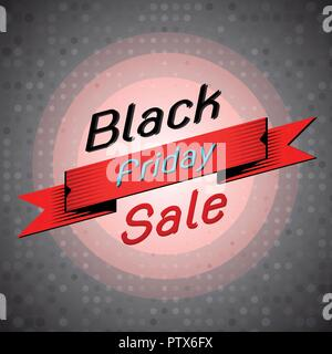 Black friday sale banner on dots background, stock vector - Stock Photo