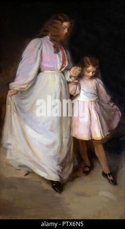 Dorothea and Francesca, Cecilia Beaux, 1898, Art Institute of Chicago, Chicago, Illinois, USA, North America - Stock Photo
