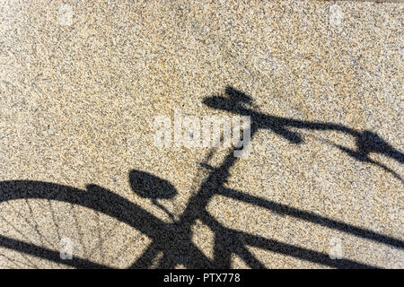 Berlin, Germany, October 10, 2018:  Close-Up of Shadow of Bicycle on Wall - Stock Photo