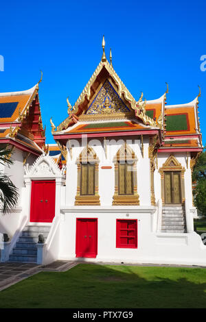 Beautiful clerical buildings in the grounds of Wat Benchamabophit,  also called Marble Temple, Bangkok, Thailand - Stock Photo