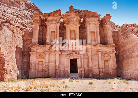 The Monastery of Petra is the largest of the magnificent carved tombs from the ancient necroplis that still exists. - Stock Photo