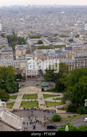 View to Paris from the Basilica of Sacred Heart on Monmartre. Paris, France, September 04, 2018 - Stock Photo