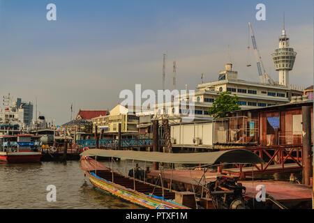 Samut Prakan, Thailand - March 25, 2017: Local ferry pier across Chao Phraya River at Amphur Muang district, Samut Prakarn, Thailand. - Stock Photo