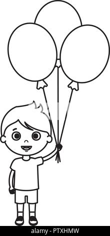 cute little boy with balloons helium - Stock Photo