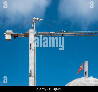 Istanbul, Turkey, September 2018: Construction site for a new mosque on Taksim Square in the centre of Istanbul - Stock Photo