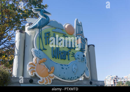 VICTORIA, CANADA - SEPTEMBER 26th 2018: Large entrance sign for fisherman's wharf in Victoria, Canada - Stock Photo