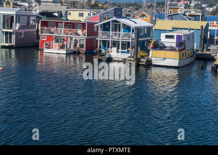 VICTORIA, CANADA - SEPTEMBER 26th 2018: Colourful floating homes at the fisherman's wharf in Victoria, Canada - Stock Photo