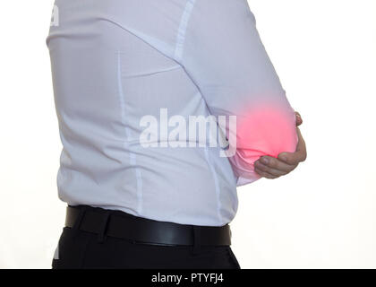 A man in a white shirt holds on to the right patient's elbow, a white background - Stock Photo