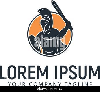 spartan warrior logo design concept template - Stock Photo