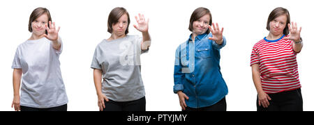Collage of down sydrome woman over isolated background doing stop sing with palm of the hand. Warning expression with negative and serious gesture on  - Stock Photo