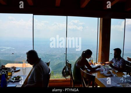 Ballkoni Dajtit restaurant offers amazing views of tirana after taking the djati express cable car albania - Stock Photo