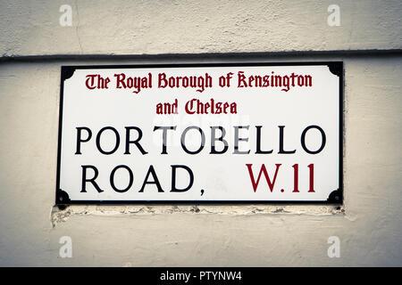 Street sign of famous Portobello Road in Notting Hill, London - Stock Photo