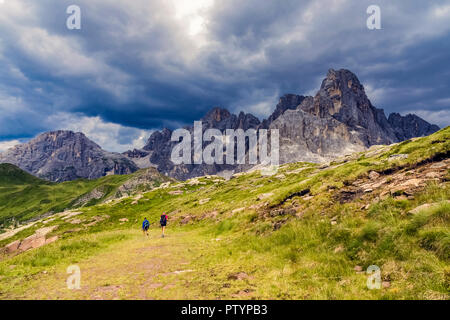 Italy trentino   Dolomites - The Pale of San Martino seen from the crest of the little Cavallazza. - Stock Photo
