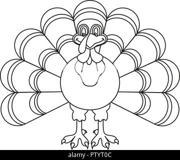 Line art black and white thanksgiving turkey - Stock Photo